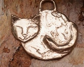 Artisan Handcrafted Peaceful Kitty Cat Pendant in Sterling Silver