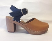 Two tone honey and Black oiled Dalanna on a brown super high heel w/ buckled ankle strap