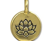 2 TierraCast Antique Gold Lotus Flower Charms