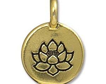 2 TierraCast Antique Gold Lotus Flower Charms