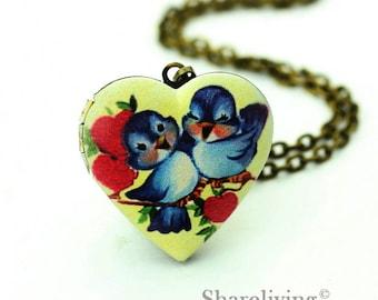 1pcs Vintage Baby Bird Heart Locket Necklace, Antique Bronze Brass Locket, Photo Heart Locket Charm Pendant  - HLK908C