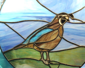 Stained Glass Circle of a California Quail Suncatcher