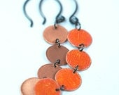 Orange Copper Dangle Earrings with Oxidized Sterling Silver Ear Wires, Prisma Color