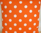 "Pillow Cover 16x16 Orange and White Spots Polka Dots Polkadot 16"" Cushion Case Sham Slip Pillowcase Polka Dots New Spotty Spotted Dotty Dot"