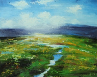 Landscape painting 260 24x24 inch original impasto impressionistic oil painting by Roz