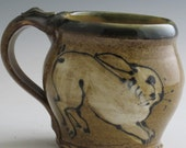Mug with bunny rabbit stoneware pottery