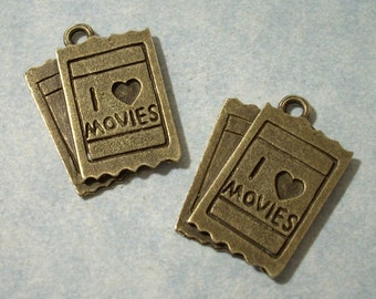 2 Movie Ticket Charms 19 x 26mm Bronze I Love Movies Charms Movie Lover Charms