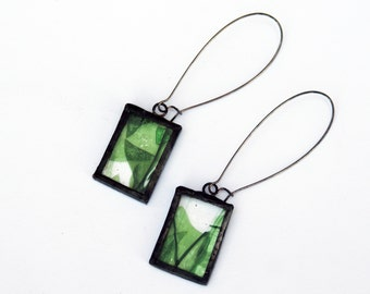 EARRINGS - Stained Glass Earrings - Confetti Glass Earrings - Tiffany Glass