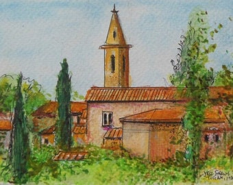 Tuscany Church Village -Original Watercolor Painting in Frame by Miami Artist Jeff Sterling