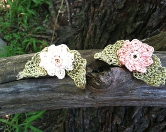 Crocheted Flower Pins - Set of 2 - Peach and Ivory
