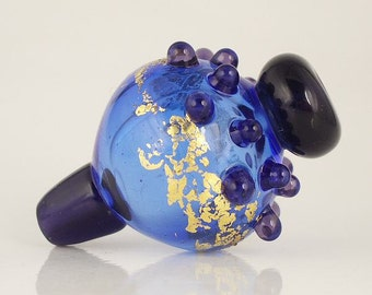Lampwork  Focal Bead. Hollow Lampwork Bead in Blue with  Gold Leaf