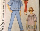 Vintage 60's Sewing Pattern Simplicity 4587 Misses Nightgown and Pajamas Bust 34 inches