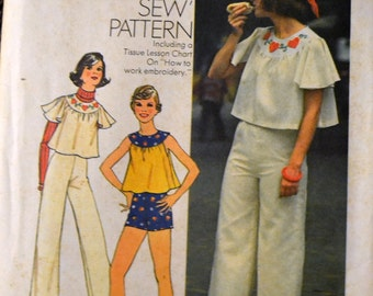Vintage 1974 Sewing Pattern Simplicity 6807 Teens' Top, Pants and Shorts Size 9/10 Bust 30 inches Complete UNCUT