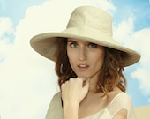 Floppy Hat in Natural Cream Linen - Womens Hats, Floppy Sunhat, Summer Fashion, Linen Sunhat, Beach, Romantic Hat, Natural Style