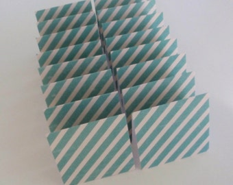 Mini Cards 16 turquoise stripe  - blank for thank you notes 3 x 3