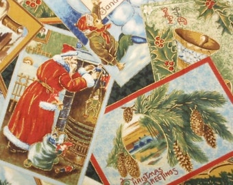 Christmas postcard winter fabric - 1 yard - Victorian Holiday