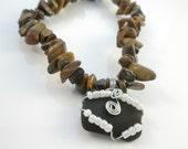 Holiday Sale, Handmade Genuine Natural Tiger Eye Gemstone Chip Stretch Bracelet with Dark Brown Tumbled Sea Glass Charm