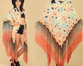 ViNtAgE 40's Black Silk FLORAL Piano Shawl // Bohemian Ombre Fringe Kimono // Floral Draped Scarf // BoHo Hippie Festival