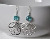 Lace Earrings, Feather Earrings, Silver Earrings, Something Blue, Dangle Earrings