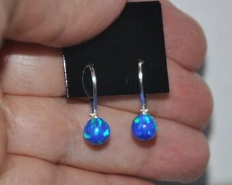 Blue Opal earrings, Leverback Earringss, Opal Jewelry, Sterling Silver, Australian Opal, Silver Earrings, 6mm stone