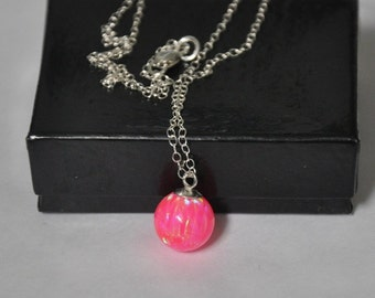 Pink Opal Necklace, Opal Gemstone Necklace, Pink Fire Opal, Ball Opal Pendant, Gift for Her, Opal Jewelry,  Sterling Silver