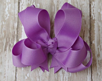 "Girls Hair Bow Dark Orchid 4"" Boutique Layered Hairbow Lavender Purple Hairbows"