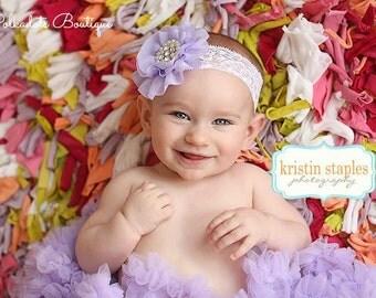 Lace Headband Lavender Headband Shabby Chic Flower Headband Baby Girl Headband Lace Headband Lavender Baby Headband