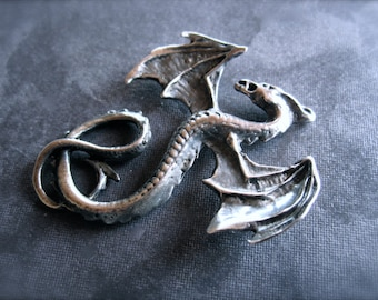 Solid Sterling Silver Dragon pendant - oxidized - aaa quality cast - 41mm X 34mm