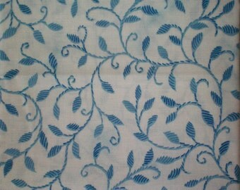 Whimsical Fairy Light Blue Fabric Blue Leaf Fabric Blue and White Fabric Leaves - Cotton Fat Quarter Fabric for Quilting or Crafting Fabric