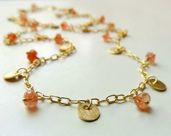 Anna Necklace with Faceted Oregon Sunstone Wire Wrapped Gold Summer Fashion  Layering Necklace
