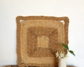 RESERVED for Brooke.  Vintage Mid Century Square Straw Trivet Mat, Natural Table Centerpiece Placemat, Wall Hanging,