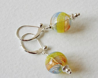 Sterling Silver Earrings Blue Orange and Yellow 1950s Glass Globe Beads