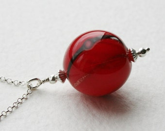 Red and Gold Vintage Hand Blown Glass Bead Sterling Silver Necklace