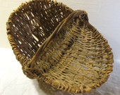 Deep Oval Vine Basket Medium Size 15 x 12 x 12 Woven Natural Country Brown Tan Excellent Condition Vintage
