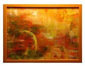 Abstract Painting Orange Amber Gold Ghost Face Landscape Forest Woods Original Art