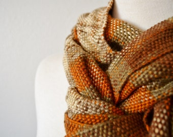 Clearance Sale! Retro Autumn Handwoven Scarf in Rust, Brown, Grey. Fringed Boho Classic Traditional Woven Scarf. Rustic Fashion