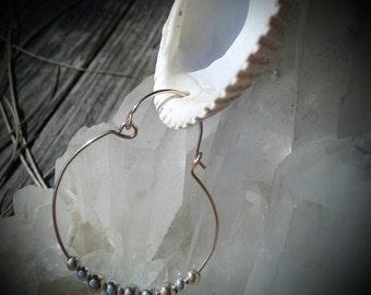 Rose Gold Earrings, Beaded Hoops, Gold Filled, Sterling Silver, Hinged Hoop Earrings