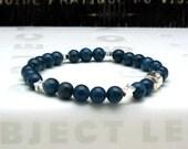 Teal Apatite and Sterling Silver Star Beaded Bracelet Delicate Gemstone Modern Partner Stretch Bracelet