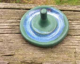 RING holder, jewelry bowl, green and blue, ready to ship, handmade, ceramic, pottery