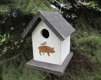 Primitive Birdhouse White Black Roof and Base with Rusty Pig