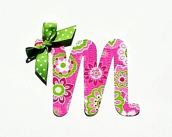 Cursive Letter...Fabric Iron On Applique...Ribbon Included...You Choose Your Own Letter