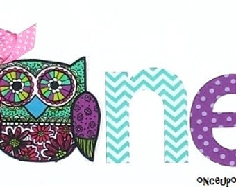 One//First Birthday//Two//Second Birthday//Owl & Letters//Farbic Iron On Appliques//With or Without Ribbon