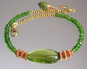 Peridot Gemstone Bracelet, Statement Jewelry, Chrome Diopside, Layering Bracelet, Orange Sapphire, Vermeil, Original Design, Signature