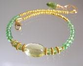 Tsavorite Bracelet, Lemon Quartz Vermeil Beaded Bracelet, Peridot Layering Bracelet, Slender, Artisan Made, Original Design, Signature