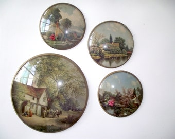 Antique Lithographs German Pastoral Country Framed Under Glass Watch Convex Frame Wall Hanging 1940s