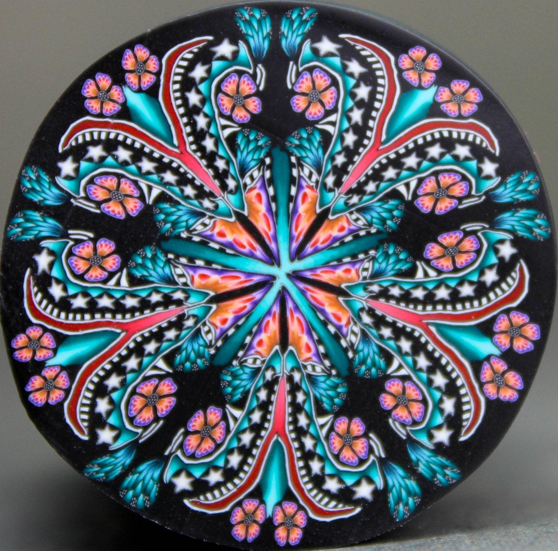 Kaleidoscope Ca: Large Polymer Clay Kaleidoscope Cane 'Enchanted