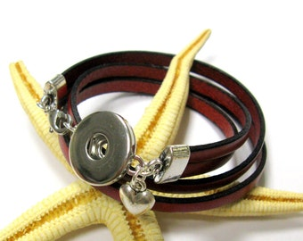 SMAUGGS leather wrap bracelet for snap charms (popper snap), clip for buttons, to wrap 2 times, colourchoice