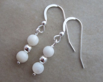 white mother of pearl sterling silver dangle earrings