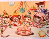 Ruth Newton Birthday Party Cotton Fabric Panel, VTG Cats Dogs Kittens Puppies
