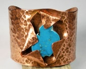 Turquoise and Copper Cuff Bracelet, Rustic Copper Cuff, Foldformed Copper, Hammered Copper Jewelry, Sleeping Beauty Turquoise- Grand Lake